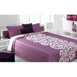 Moderní a luxusní oboustranný přehoz na postel fialový s bílým vzorem