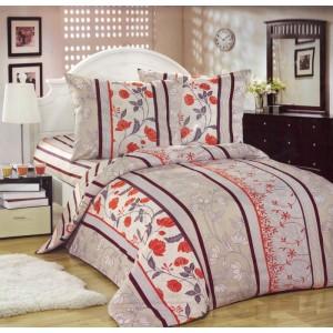 Béžové povlečení na postel s hnědými pásy a květinami
