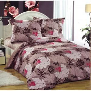 Povlak na postele béžové barvy s květy