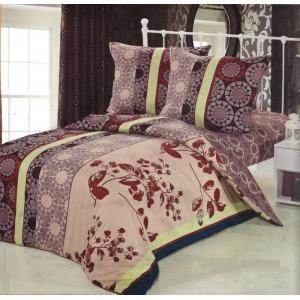 Béžovo hnědé povlečení na postele s pruhy a květovým motivem