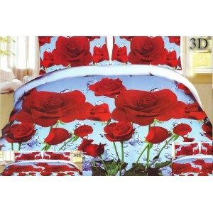 Povlak na postel modrý s motivy červených růží