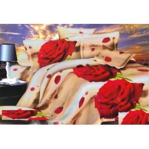 Červená růže povlečení na postel béžové barvy