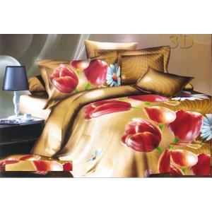 Béžový povlak na postel s červeným květinovým vzorem