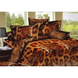 Hnědé povlečení na postel s leopardími hlavami