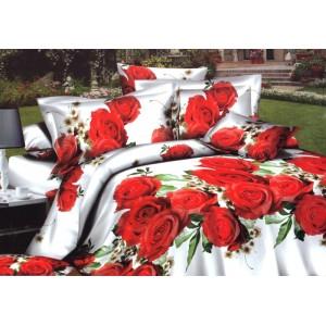 Bílý ložní povlak s červenými růžemi