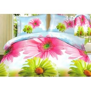 Povlak na postel modré barvy s růžovými a zelenými květy