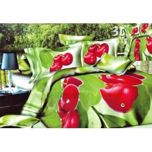 Povlak na postel zelené barvy s červeným květem