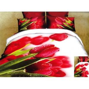 Bílý povlak na postel červerný tulipán