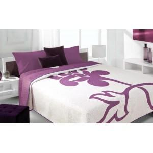 Moderní a luxusní oboustranný přehoz na postel bílý s fialovým květem