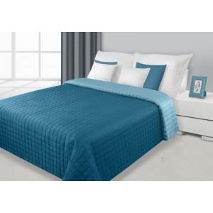 Tyrkysový oboustranný prošívaný přehoz na postel