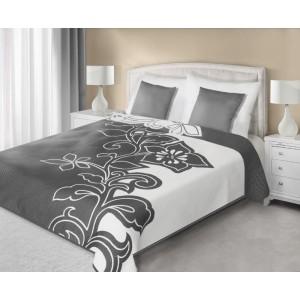 Šedě bílé oboustranné přehozy na manželskou postel se vzorem květiny