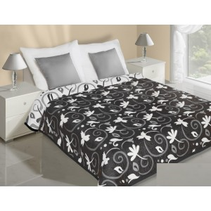 Oboustranný černý přehoz na postel s motivem bílých listů