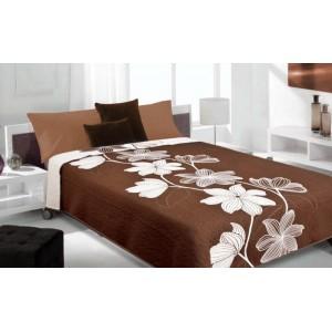 Moderní a luxusní oboustranný přehoz na postel hnědý s bílými květy