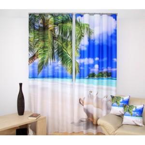 Exotická pláž závěsy na okno s mušlí