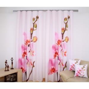 Květovaný bílo růžový závěsy na okno jednodílné