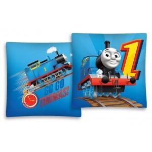 GO GO THOMAS modrý povlak na polštář s motivem dětského vláčku