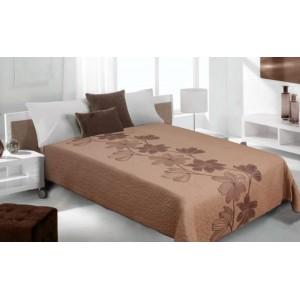 Moderní a luxusní oboustranný přehoz na postel hnědý s béžovými květy