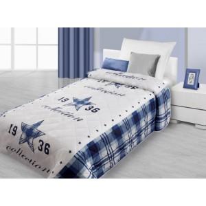Modro bílý přehoz na postel s 3D motivem modré hvězdy