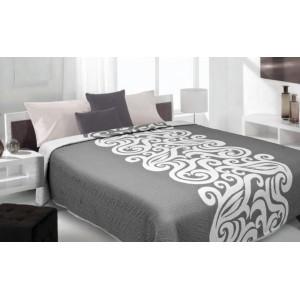 Moderní a luxusní oboustranný přehoz na postel šedý s bílým vzorem