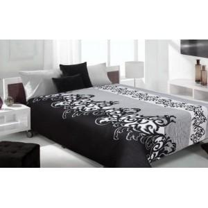 Moderní a luxusní oboustranný přehoz na postel bílý s černými vzory