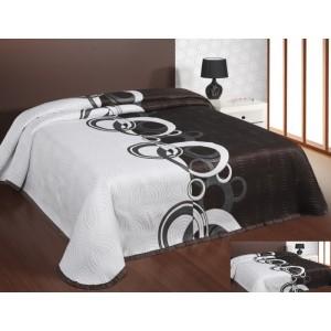 Moderní a luxusní oboustranný přehoz na postel hnědý s bílými vzory