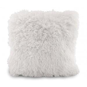 Chlupatý luxusní povlak na polštář bílé barvy