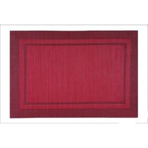 Červené prostírání pod talíře s obdélníkovým motivem