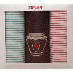 Set zeleně červených utěrek s hnědým ručníkem