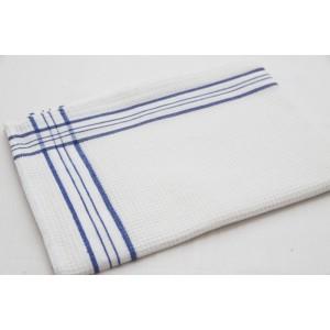 Utěrky do kuchyně bílé barvy se vzorem modré