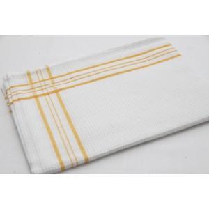 Kuchyňské utěrky v bílé barvě se vzorem žluté