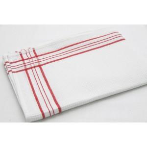 Bavlněné kuchyňské utěrky bílé barvy s červeným vzorem