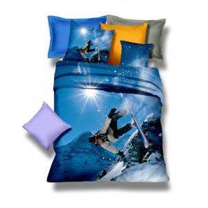 Modré povlečení na postel z mikrovlákna se snowboardistům