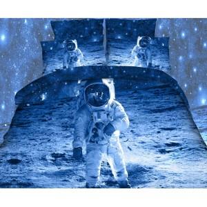 Modré povlečení na postel z mikrovlákna s kosmonautem