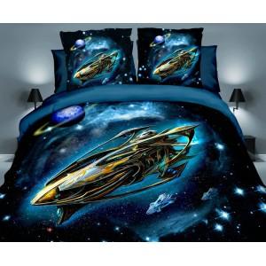 Povlečení tmavě modré barvy s vesmírnou lodí