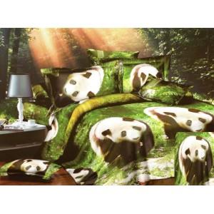 Zelené ložní povlečení s pandami