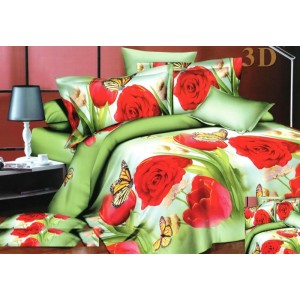 Zelené povlečení na postel z mikrovlákna s červenými růžemi