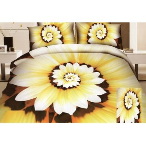 Květový pupen ložní povlečení žluto hnědé barvy