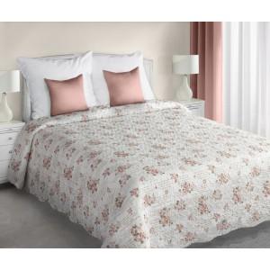 Luxusní bílé oboustranné přehozy s růžovými růžemi přes postel