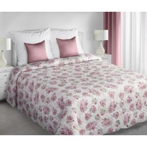 Dekorativní krémový oboustranný přehoz na manželskou postel s růžovými růžemi