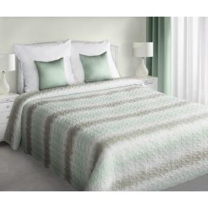 Deky na postel oboustranné bílé barvy s mátově šedými pruhy