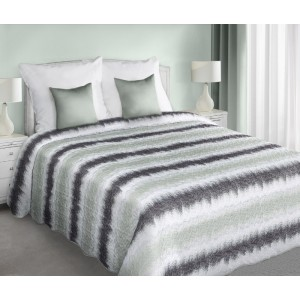 Oboustranné plédy a přehozy v bílé barvě na postele se šedě zelenými pruhy
