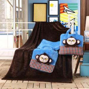 Tmavě hnědé deky 3v1 s malými opičkami