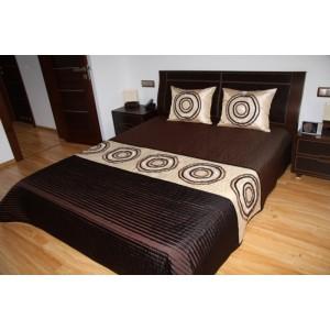 Luxusní přehozy na postel v hnědé barvě s kruhy