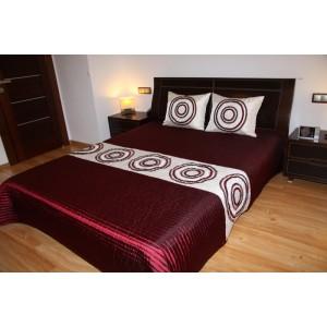 Luxusní přehozy na postel v bordóve barvě s kruhy