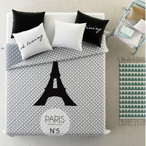 Luxusní přehozy na postel šedé barvy se vzorem Eiffelovy věže