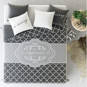 Luxusní šedé přikrývky na dvoulůžko ve francouzském stylu