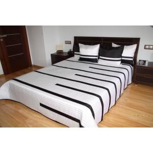 Luxusní přehozy na postel v bílé barvě s černými proužky