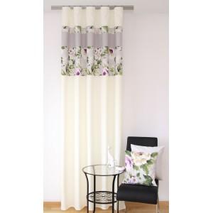 Elegantní hotové závěsy do pokoje krémové barvy s květinovým vzorem