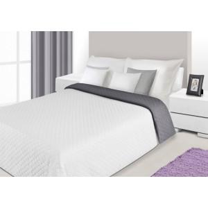 Oboustranné bílo šedé přehozy na manželskou postel s kosočtvercovým prošíváním