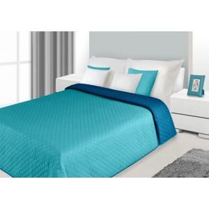 Dekorativní modro tyrkysový oboustranný přehoz na manželskou postel do ložnice